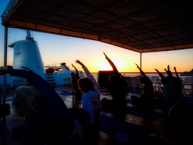 Best Sunrise - Sunrise yoga and stretch class on Safari Endeavour in the Sea of Cortes