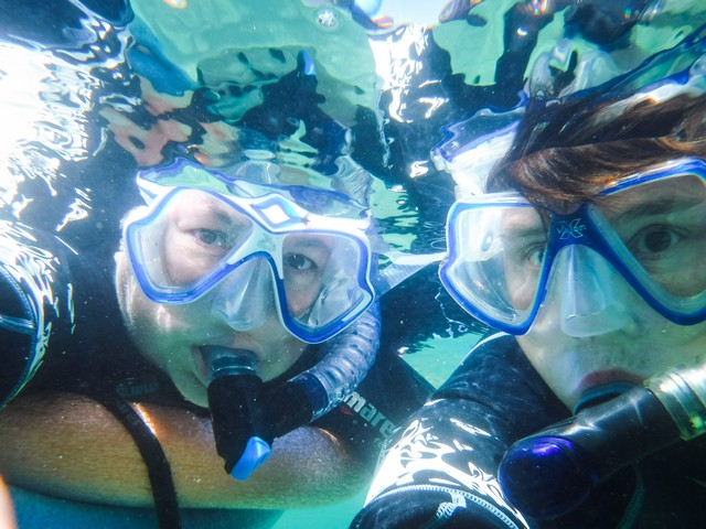 Viv and Jill snorkeling in the Sea of Cortes with Un-Cruise Adventures