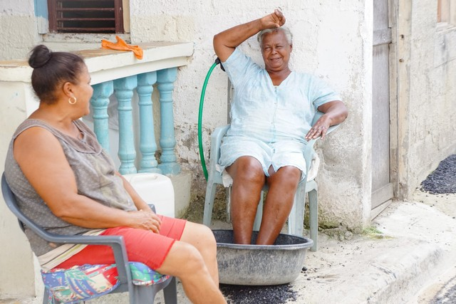 Local Women Cooling Off in the Dominican Republic