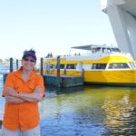 Jill getting ready to hop on a Water Taxi boat