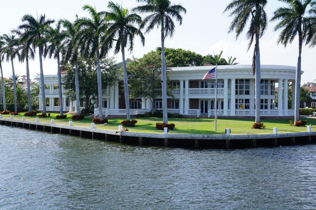 Taking the Water Taxi past Mansions along the Intracoastal Waterway in Fort Lauderdale