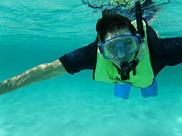 Jill goes snorkeling in the Bahamas