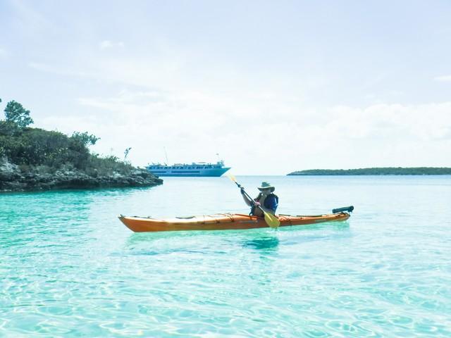 Jill takes out a kayak