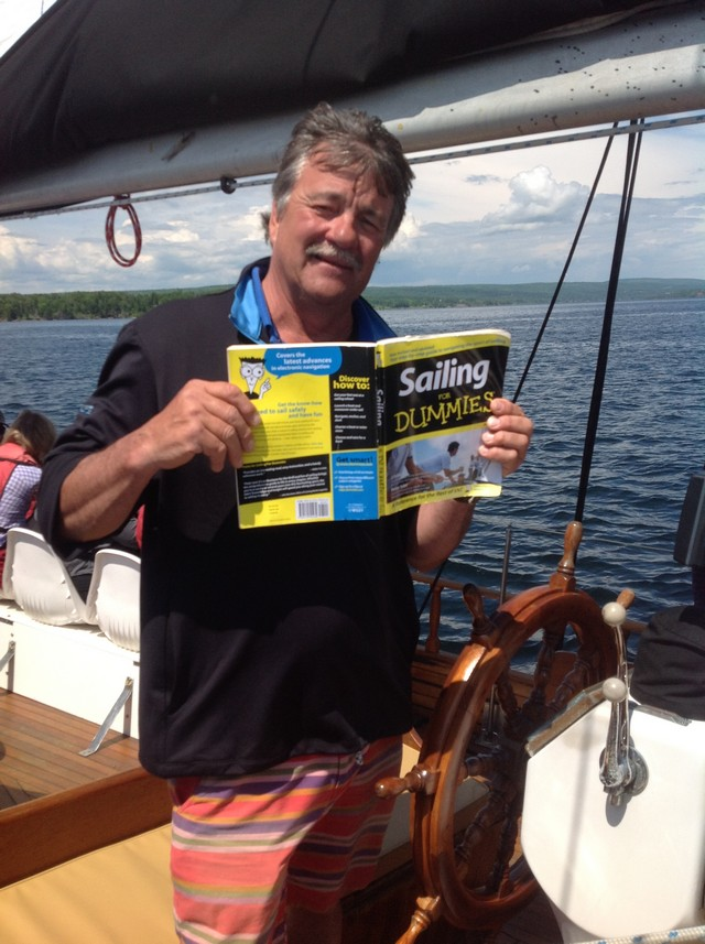 Cape Breton - Baddeck - Captain John on Amoeba schooner having fun