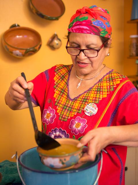 Chef Gerardo's mother, Soccorro, at La Cocina Oaxaqeña.
