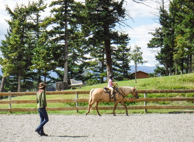 Jada has a Riding Lesson in the Outdoor Arena at Echo Valley Ranch