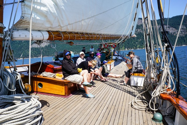 Kicking back while under sail and making new friends.