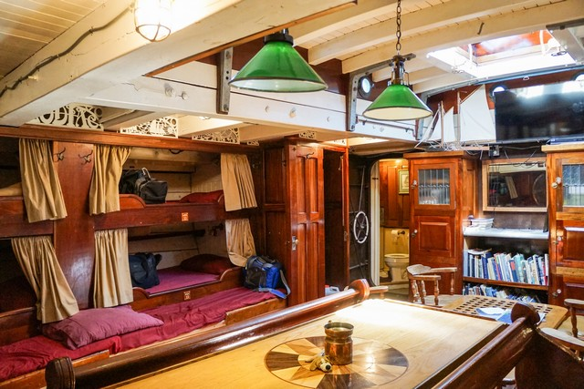 The salon and sleeping bunks on Schooner Zodiac.
