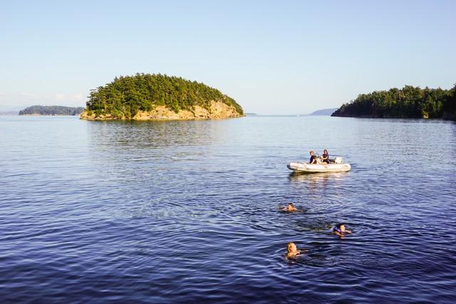 Enjoying a swim in the bay at Stuart Island.