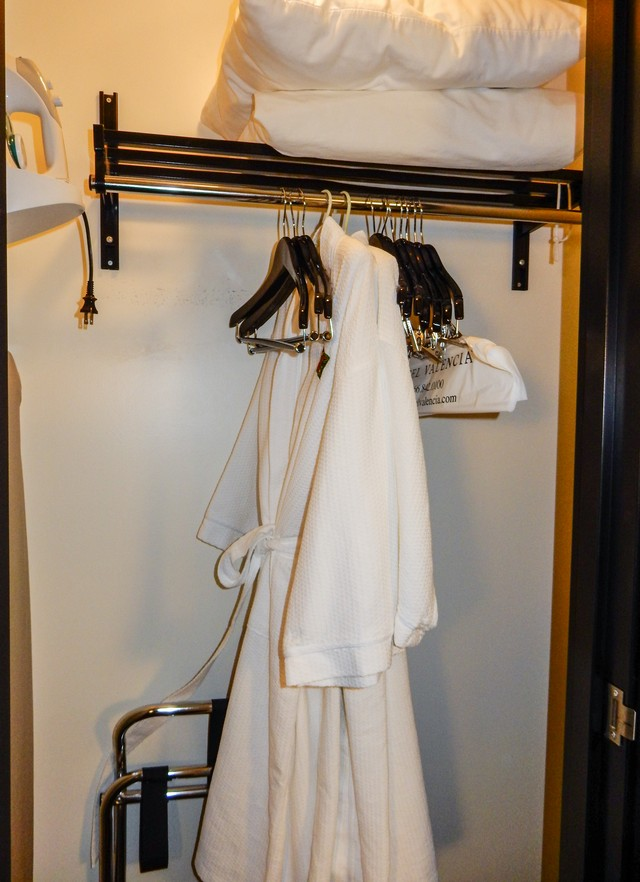 Wooden Hangers, Bathrobes, Extra Luggage Rack, Iron.