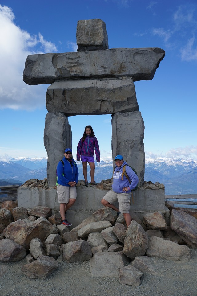 Jill, Jada and Viv at the Inukshuk at Whistler Summit