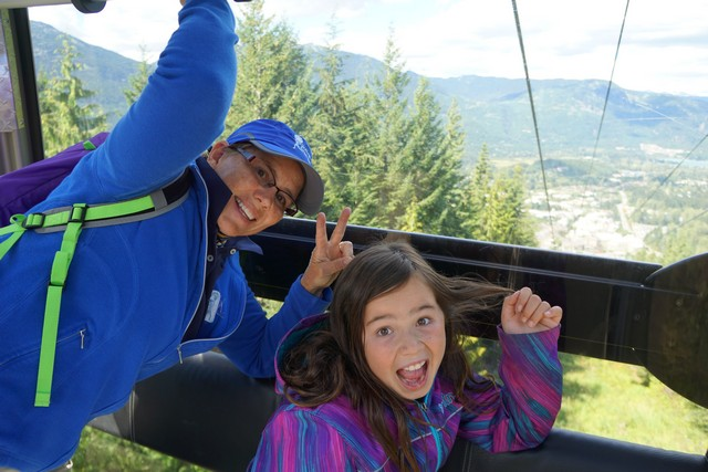 Getting goofy on the Whistler Gondola up to the Roundhouse Lodge