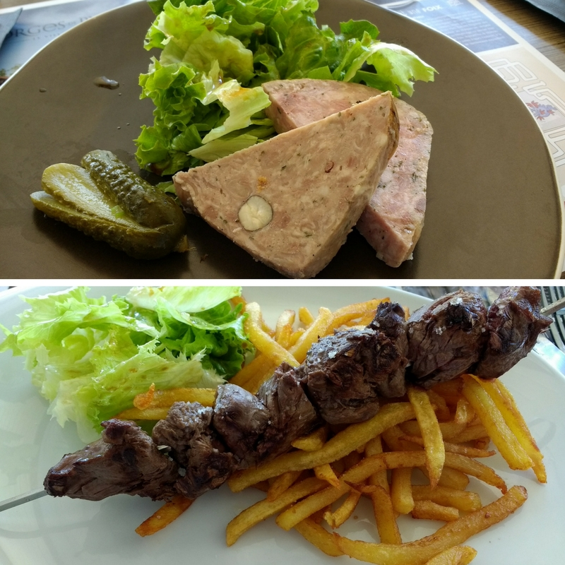 Terrasses de l'Ecogolf bar-restaurant starter and main course.