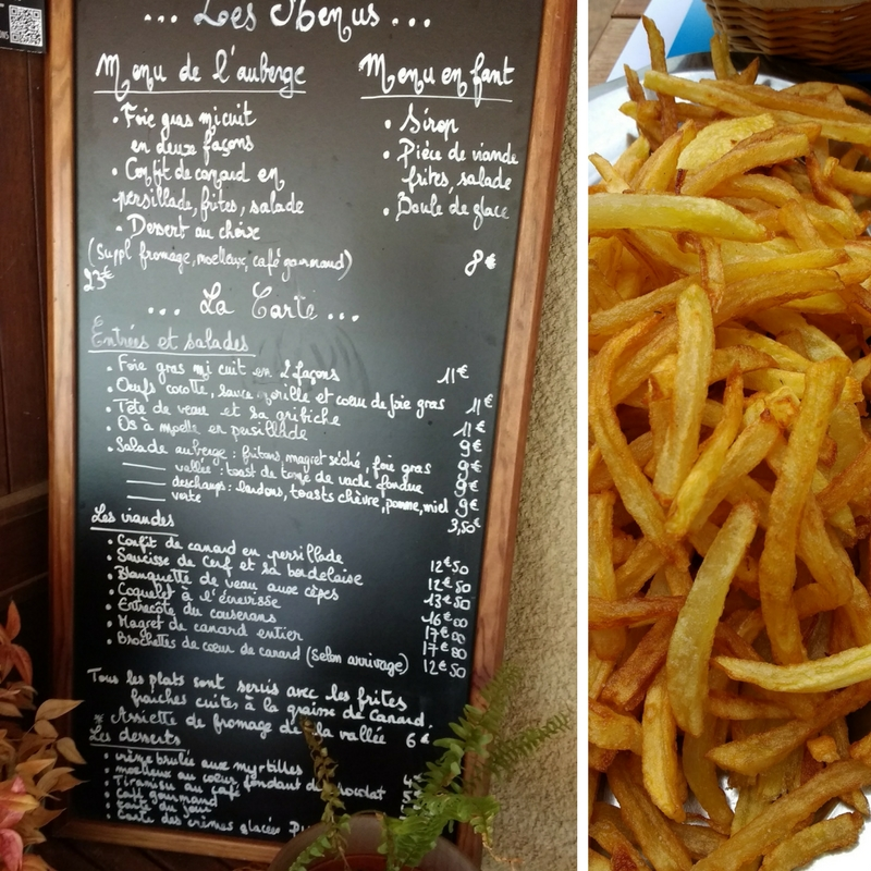 Auberge de la Core in the Bethmale Valley. Menu and duck fat fries.