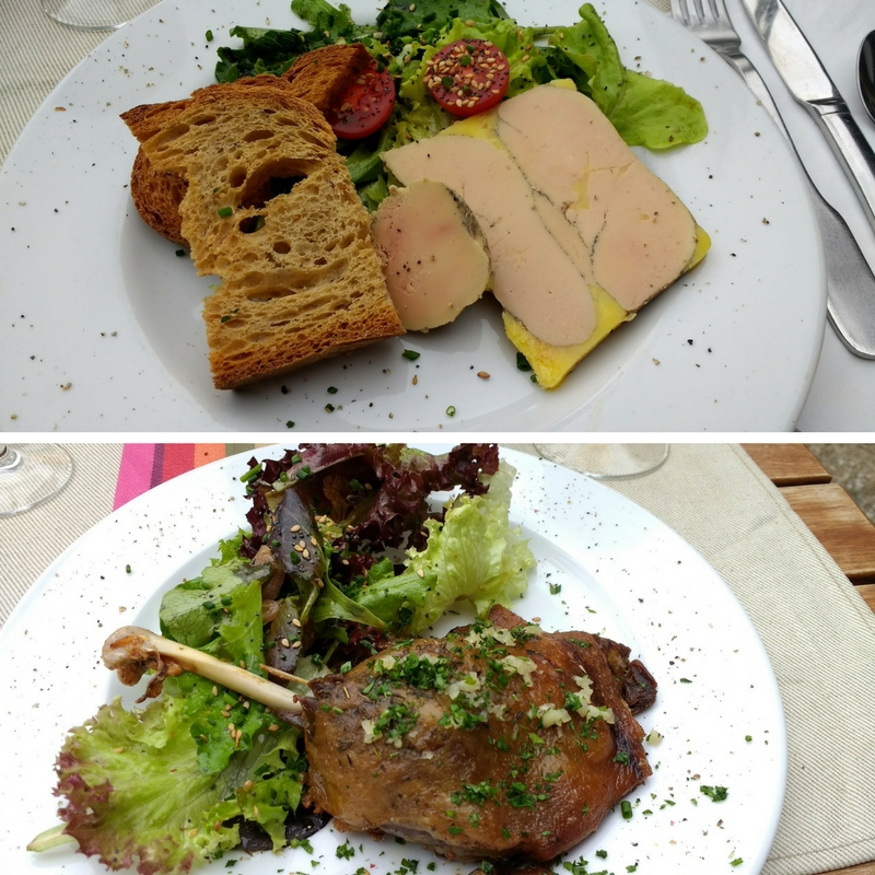 Auberge de la Core in the Bethmale Valley. Foie gras starter and duck confit with salad main course.