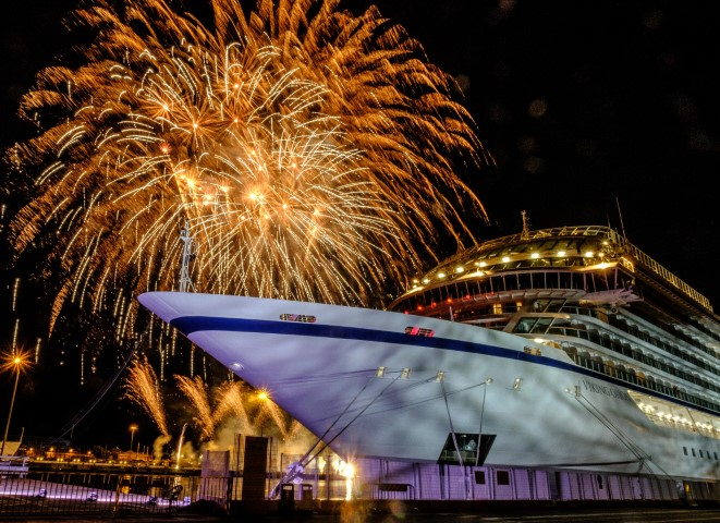 Fireworks during the Naming Ceremony for the Viking Orion in Livorno, Italy.