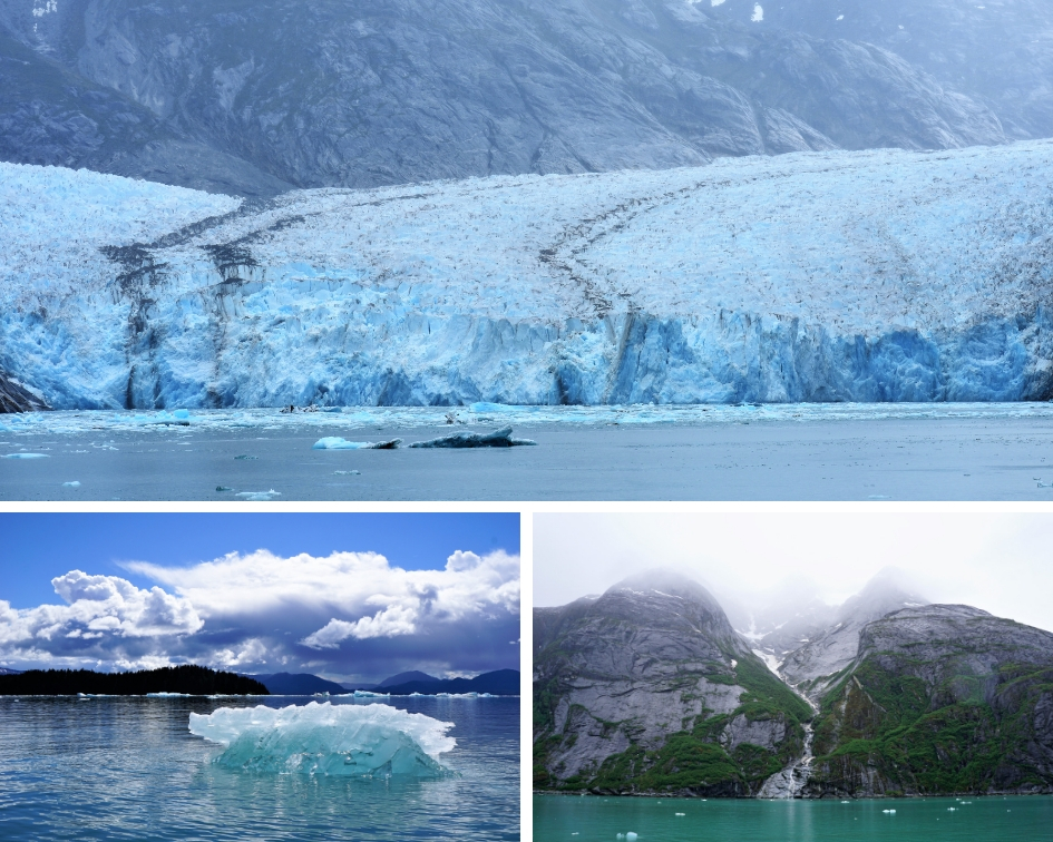 Glaciers and waterfalls in Alaska