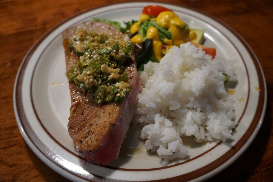 Tuna steaks with ponzu sauce
