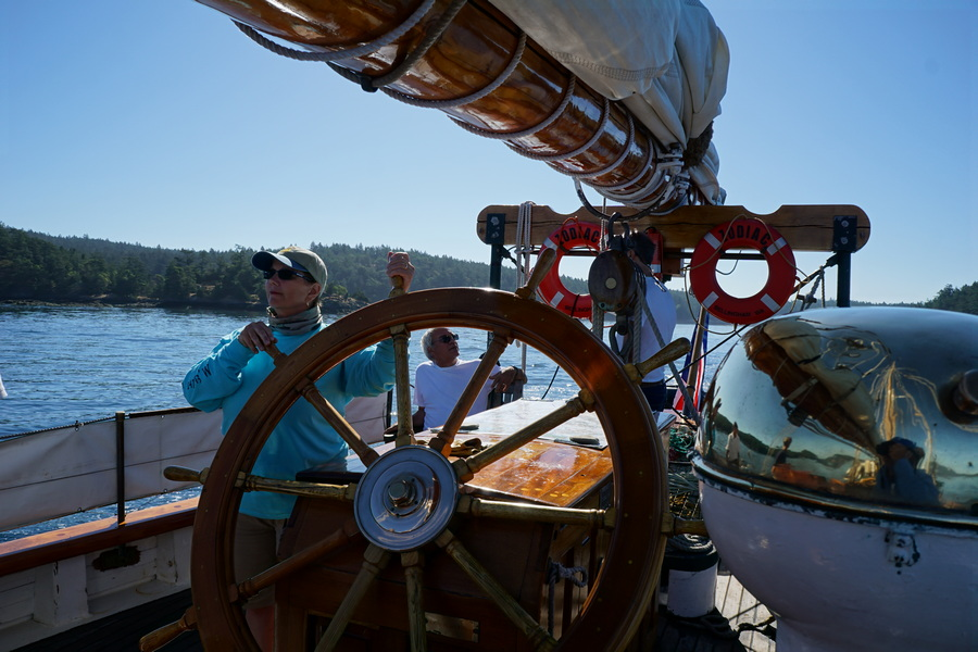 Jill at the helm of Schooner Zodiac