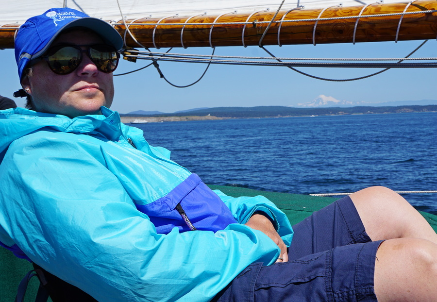 Viv enjoying sailing the San Juan Archipelago on Schooner Zodiac