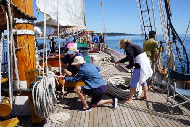 Preparing Schooner Zodiac to sail