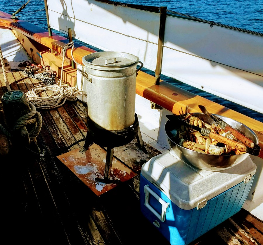 Cooking up Crabs on Schooner Zodiac