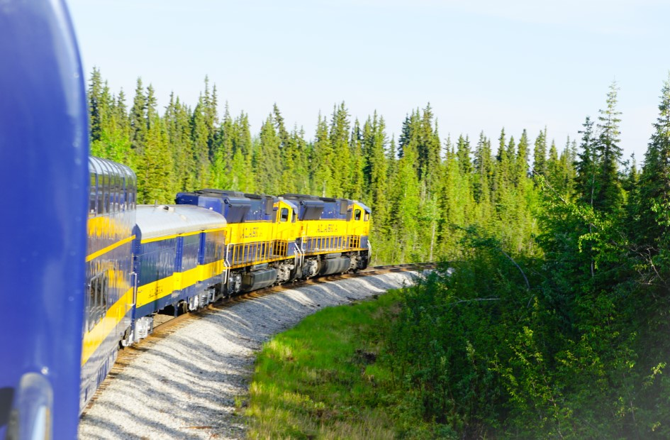 Alaska Railroad train journey to Fairbanks
