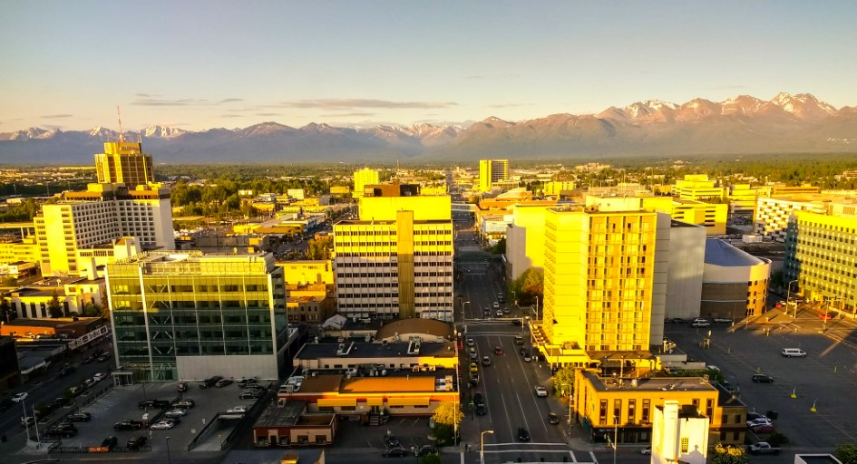 Downtown Anchorage and Chugach Mountains