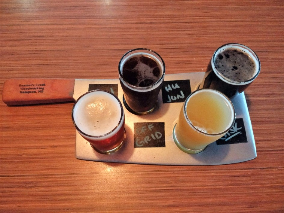 Flight of beer at Saint John Ale House