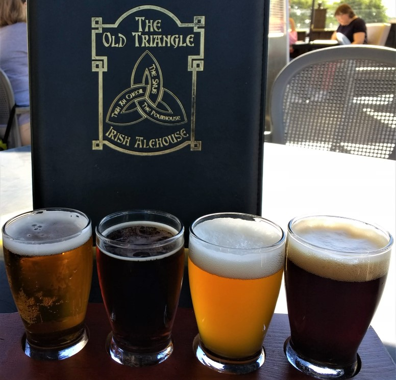 Beer flight at The Old Triangle Irish Ale House