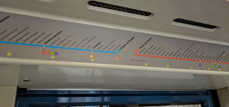 Porto Metro - Route signage inside the train